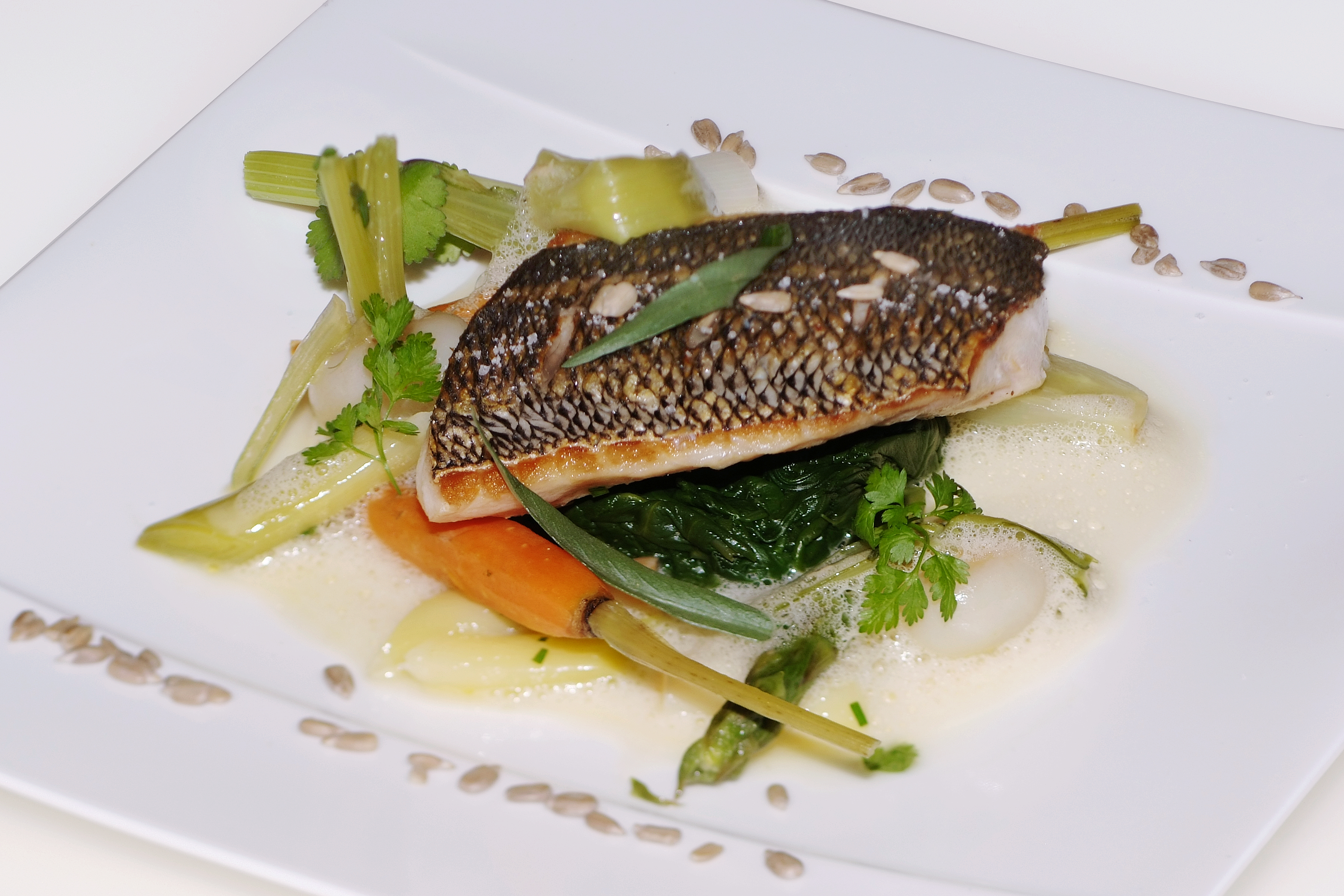 sea bream in bordier fennel butter beurre blanc sauce with spring